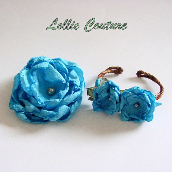 Bracelet, Hairpiece, Hair clip, Fabric Flower set, Bridal Set, Bridesmaids, Lollie Couture, Gift Set