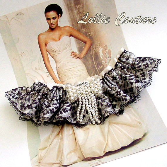 Wedding Bridal Garters, Rhinestones and Pearls, Keepsake and Toss, Black Lace Garters, Ivory Bridal Garters