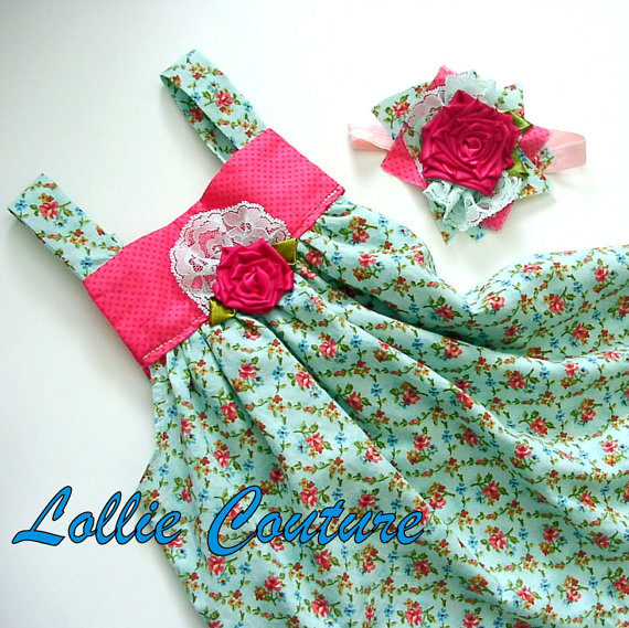 Baby Outfit, Baby dress, 2pc Baby set, Baby dress and Headband, SWEET SUMMER GIGGLES...by Lollie Couture