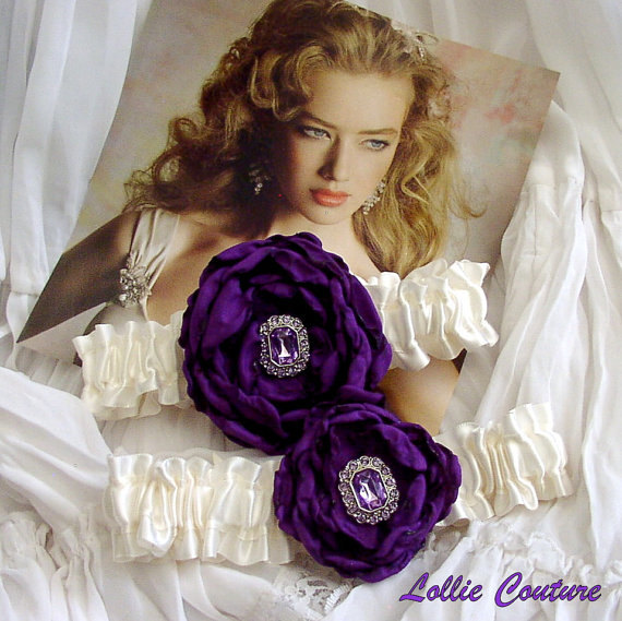 Purple Wedding Garters - Pour Mon Amour - Wedding Garter Set on Luulla